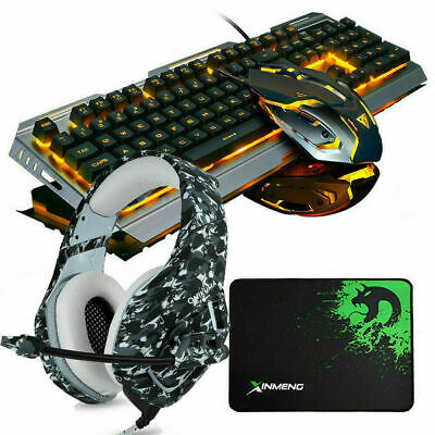 4in1 Sets For PS4 Xbox One Gaming Keyboard Mouse And Headset Wired LED Backlit • 45.99£