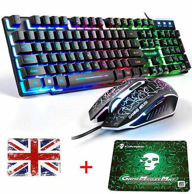 UK Layout T6 Rainbow Backlit Gaming Keyboard And Mouse Set For PC PS4 Xbox One • 25.99£