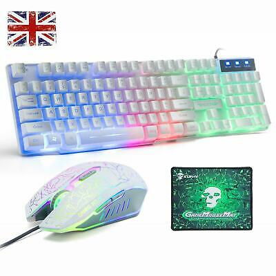 Keyboard And Mouse Set For PS4 PS3 Xbox One PC T6 Gaming Office Rainbow Backlit • 25.99£