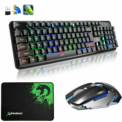 UK 2.4G Wireless Rechargeable Rainbow LED Gaming Keyboard + Mouse + Mousepad 620 • 34.99£