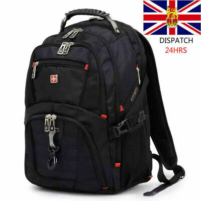 Mens Wenger Swissgear 17.1 Inch Backpack Laptop Large Travel Backpack Capacity • 36.99£