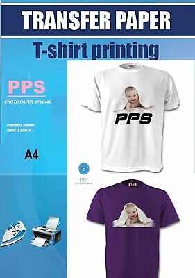 10x A4 T Shirt Transfer Paper Iron On Light Fabrics Heat Press Inkjet Print • 6.95£