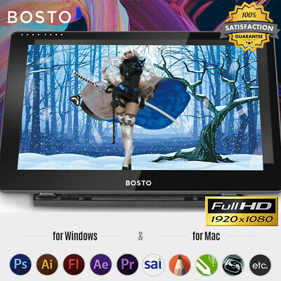 BOSTO 16HD 15.6Inch IPS Graphics Drawing Tablet 8192 Pressure Level USB With Pen • 148.99£