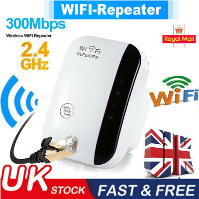 Plug WiFi Signal Repeater Extender Range Booster Internet Network Amplifier UK • 9.99£