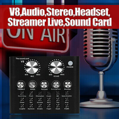 V8 External Sound Card USB Interface Audio Live Broadcast Microphone Mixer UK • 16.89£