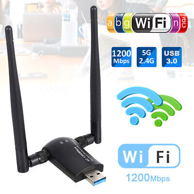 USB3.0 Wifi Adapter 11 AC Dual Band Dongle For Windows 10/8/7 Mac 1200Mbps • 11.99£