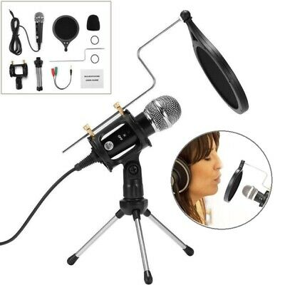 Studio Recording Podcast 3.5mm Microphone Condenser MIC Stand Kit For Laptop PC • 9.99£
