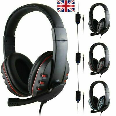 3.5mm Gaming Headset Headphones With Mic For PC Laptop PS4 Xbox One Switch Black • 9.89£