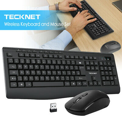 2.4GHz Ergonomic USB Wireless Keyboard And Cordless Optical Mouse Set Combo 10M • 13.49£