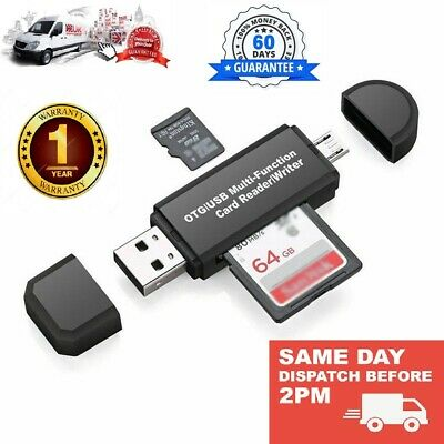 SD Card Reader For Android Phone Tablet PC Micro USB OTG To USB 2.0 Adapter • 2.65£