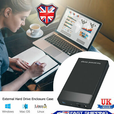 USB 3.0 To 3.5inch SATA III 5Gbps External Hard Drive Disk HDD Enclosure Case UK • 13.49£