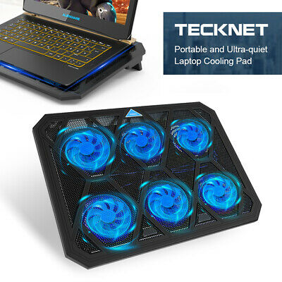 Quiet Laptop Cooler 6 Powerful Fans, TeckNet 12 -19  Gaming Cooling Pad Stand • 16.99£