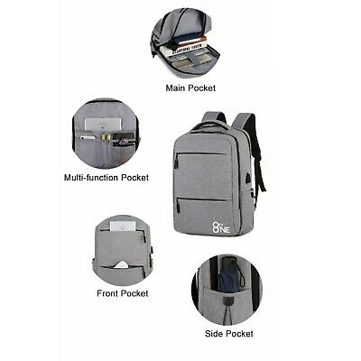 Anti Theft Backpack With USB Charging For 15.6 Inch Laptops - Black/Grey • 21.99£
