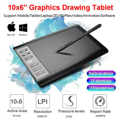 10x6  Screen Graphics Drawing Tablet USB Quick Reading Levels Art Painting Board • 28.61£