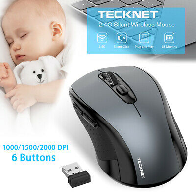 TeckNet Quiet Wireless Mouse 2.4GHz USB Cordless Mice 2000dPI For Mac Laptop PC • 8.39£