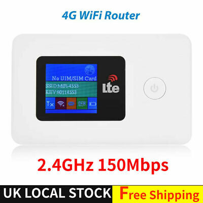 Portable Unlocked 4G-LTE Mobile Broadband WiFi Wireless Router Hotspot 150Mbps • 28.59£