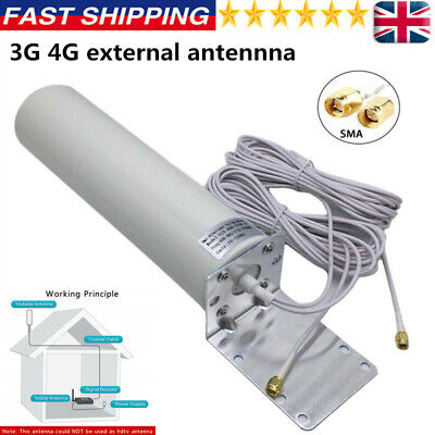 Dual SMA Male 3G 4G LTE Outdoor Wall Mount Signal Booster Antenna Fixed Brackets • 16.59£