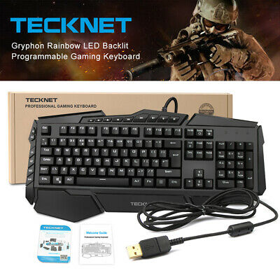 TeckNet Gaming Keyboard 7 Colors Rainbow LED Wired USB Illuminated For PC Laptop • 19.85£