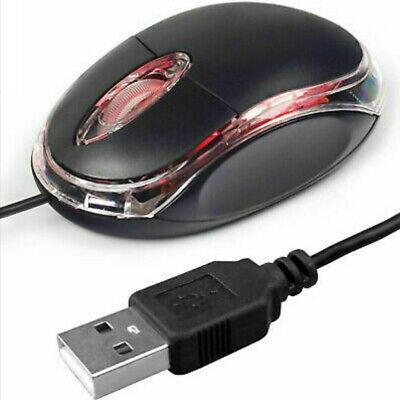 Wired Usb Optical Mouse For Pc Laptop Computer Scroll Wheel - Black Uk • 3.39£