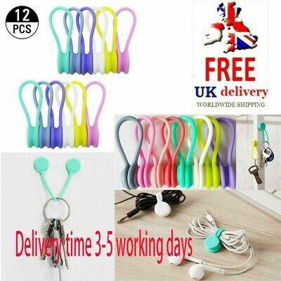 12pcs Magnetic Silicone Cord Organisers Clips Earphone Wire Wrap Cable Ties Bowl • 5.29£