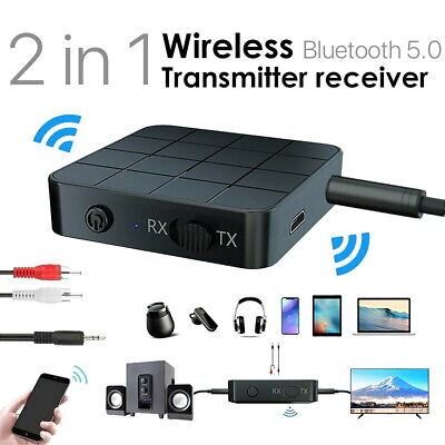 2in1 Bluetooth 5.0 Wireless Audio Transmitter Receiver HIFI MP3 Adapter RCA AUX • 7.89£