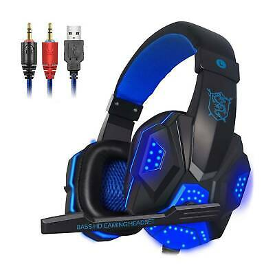 3.5mm Gaming Headset USB Wired LED Headphone Stereo With Mic For One PS4 PC UK • 12.49£