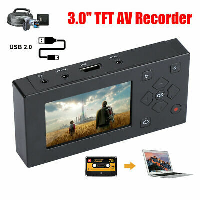 3'' VHS Camcorder Hi8 Tape Converter Audio Video Capture To Digital AV Recorder • 54.99£