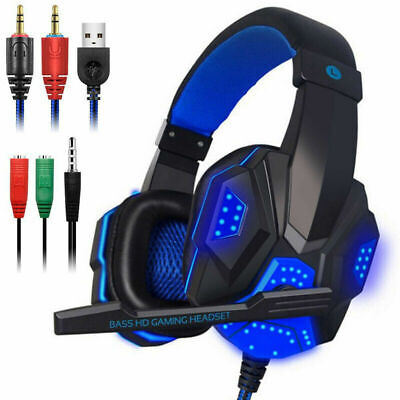 Gaming Headset USB Wired Over LED Headphones Bass Stereo Mic For Xbox One/PS4 PC • 13.99£