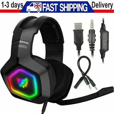 RGB LED Gaming Headset Headphones With MIC For PC Mac Switch Laptop PS4 Xbox One • 16.98£