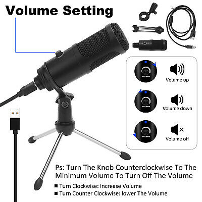 Condenser USB Microphone W/ Tripod Stand For Studio Recording Game Chat Computer • 8.59£