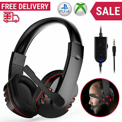 Gaming Headset For Xbox One PS4 Nintendo Switch PC Laptop Stereo Mic Headphones • 10.99£