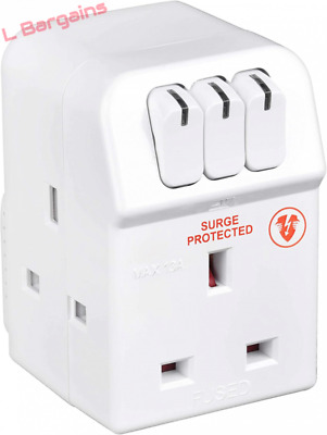 Masterplug Three Socket Surge Protected Adaptor With Individual Switches   • 9.55£