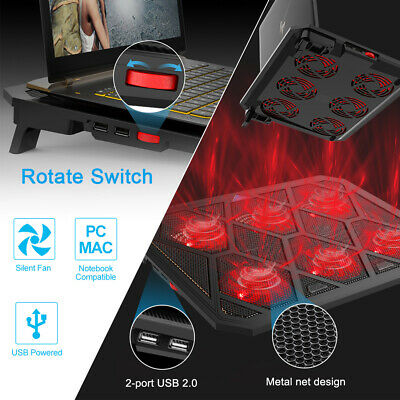 12-19 Inch Laptop Cooling Pad Gaming Cooler Stand With Quiet 6 USB Powered Fans • 15.99£