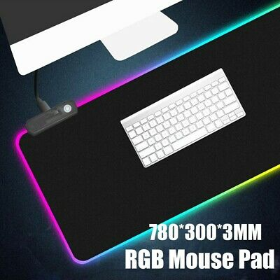 Extra Large LED RGB Gaming Mouse Pad Extended Mat For Keyboard Laptop PC Desktop • 10.79£