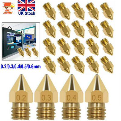 0.2-0.6mm 3D Printer Nozzle Brass Extruder MK8 For CR-10 Ender 3 Anet A8 20Pcs • 6.29£