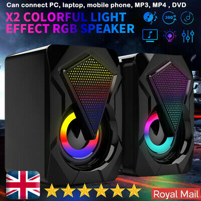 Surround Sound System LED Speakers Gaming Bass USB Wired For Desktop Computer PC • 11.59£