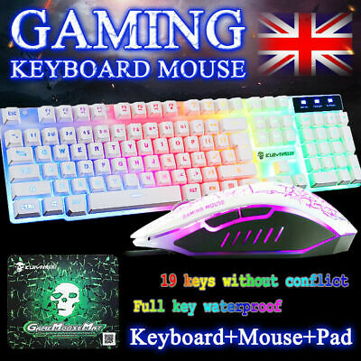 Gaming Keyboard Mouse Set Rainbow LED USB Adapter For PS4 Xbox One & 360 Gaming • 12.98£