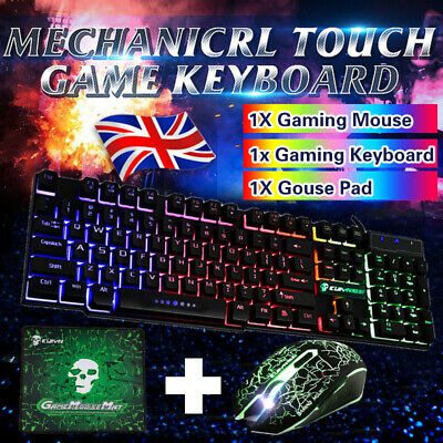 360 Gaming Keyboard And Mouse Set Rainbow LED Wired USB For PC PS4 Xbox One T • 12.99£