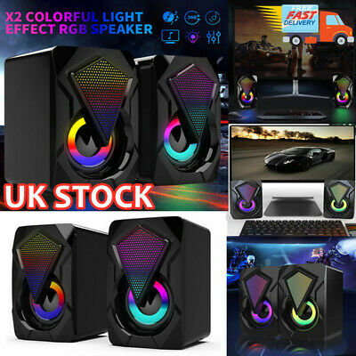 Surround Sound System LED PC Speakers Gaming Bass Wired Desktop Computer • 11.13£