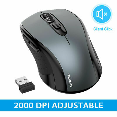 TeckNet 2.4GHz USB Silent Wireless Mouse Cordless Optical Mice For PC Laptop Mac • 9.99£