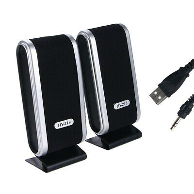 Mini USB Power Wired Computer Speakers Stereo 3.5mm Jack For PC Laptop Black • 11.19£
