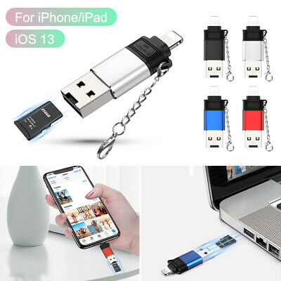 For Apple IPhone IPad To USB A 2.0 OTG Adapter Micro SD TF Memory Card Reader UK • 5.39£