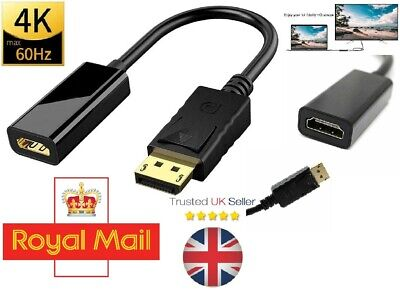 DisplayPort DP Male To HDMI Female Video Cable Converter Adapter For HDTV 1080p • 2.99£