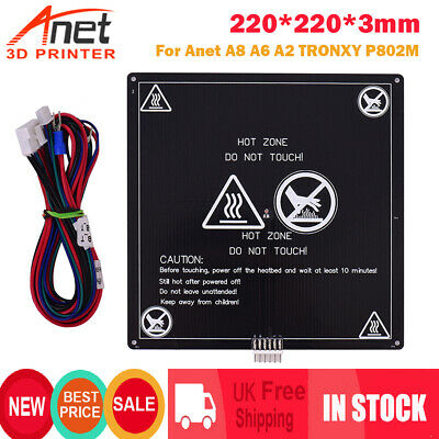 220*220*3mm 3D Printer Heat Hot Bed Build Platform Build Hotbed For Anet A8 A2 • 11.99£