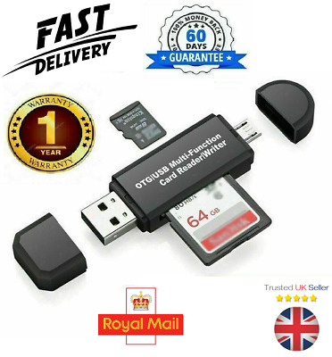 SD Card Reader For Android Phone Tablet PC Micro USB OTG To USB 2.0 Adapter UK • 2.99£