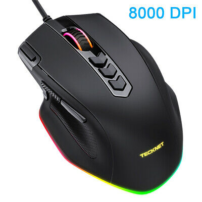 TECKNET Rainbow RGB LED Gaming Mouse USB Wired Programmable 8 Buttons Mice Gamer • 13.99£