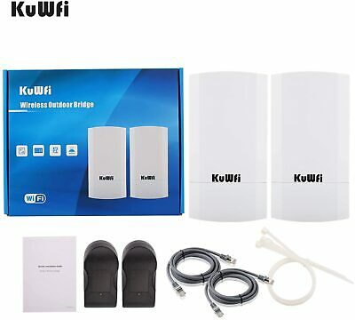 KuWFi 2-Pack 300Mbps Wireless Outdoor CPE Kit,Indoor&Outdoor Point-to-Point Supp • 61.99£