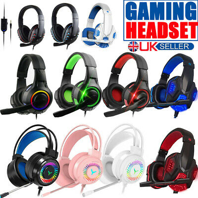 Stereo Video Gaming Headset For Xbox One PS4 Nintendo Switch & PC Mic Headphones • 15.99£