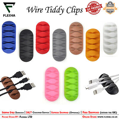 Wire Cord Tidy Clips Cable Holder Organizer USB Multi Wire Ties Lead Drop Holder • 2.49£