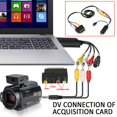 Video Capture Card Converts Video Audio VHS To Digital DVD For Windows 8 10 K • 11.99£